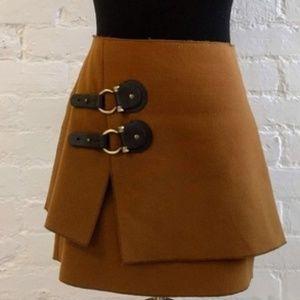 Anthropologie Meadow Rue Felt Buckle Skirt Sz 8